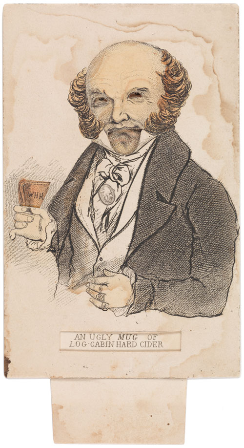 This mechanical pull-tab card caricatures Martin Van Buren