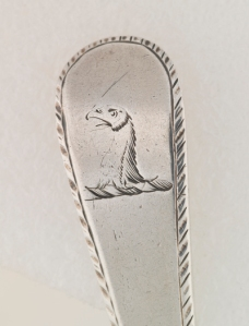 Silver Spoon, detail, engraved with crest