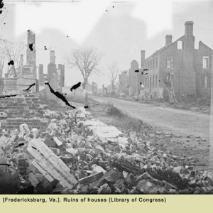 Ruins of houses, Fredericksburg, Va. (Library of Congress)
