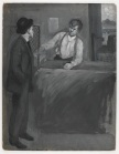 Two Men Conversing at a Counter. Gouache on board. (Virginia Historical Society ACE 9)