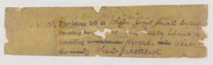 On the reverse side of the note are details where the H.M.S. Resolute plans to drop provisions and their intended course (Mss4 R3125 a 1).