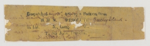 Note sent by balloon in search of Sir John Franklin in 1850 (Mss4 R3125 a 1).