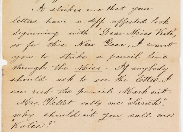 Letter from Catherine Walthall to Fitz William Rosier, January 8, 1877. (Virginia Historical Society, Mss1 R7305 a 377)