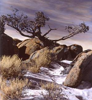 Split Rock in central Wyoming by Jack Jeffers, silver and oil, 1998