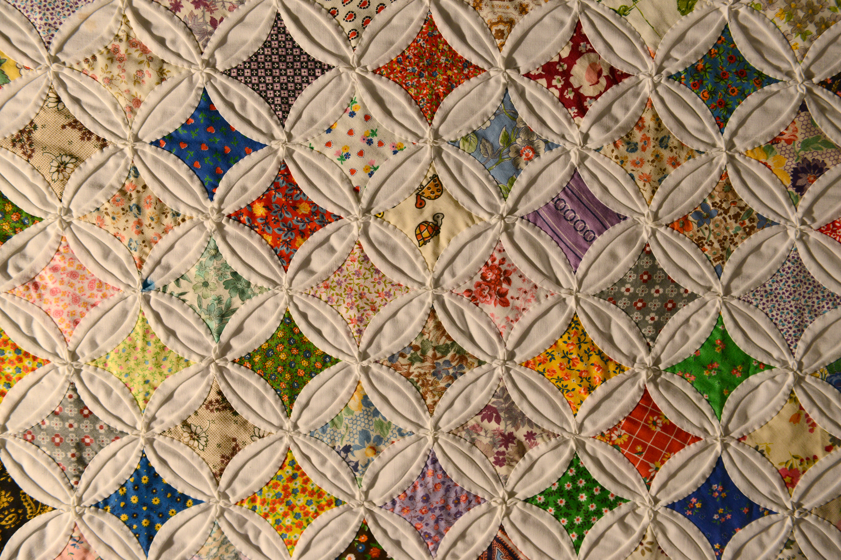 Detail of 1981 cathedral window quilt | Virginia Historical ... : pattern for cathedral window quilt - Adamdwight.com