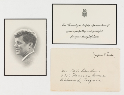 A bereavement card from Mrs. John Kennedy addressed to Mrs. Neil Reardon of Richmond, VA. The card includes an appreciation from expressed sympathy, and a card with a prayer for President Kennedy on one side, and a profile portrait on the other side. Jacqueline Kennedy received over 800,000 notes of condolence following the death of her husband. (Virginia Historical Society, Accession no. .2002.509.32.1-3)