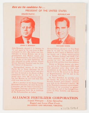 Verso of 1960 Presidential Handbook which was distributed by the Alliance Fertilizer Corporation in Ellerson and Milford, Virginia (Virginia Historical Society, Accession no. 2001.509.1)