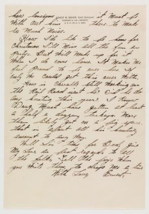 Letter from Ernest W. Bishop to his sister Maggie Roudabush of Charlottesville, VA. (Virginia Historical Society, call number Mss2 B5415 b)