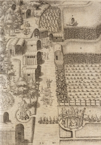 Engraving of Secotan by Theordore De Bry (printed 1590) based on watercolor by White. (Accession number F229.H27.1590)