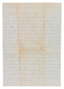 Letter from Edward V. Lane to Jane (Collins) Lane concerning the hiring out of an African-American slave, Emeline (VHS call number: Mss2 L2422 b11_front)