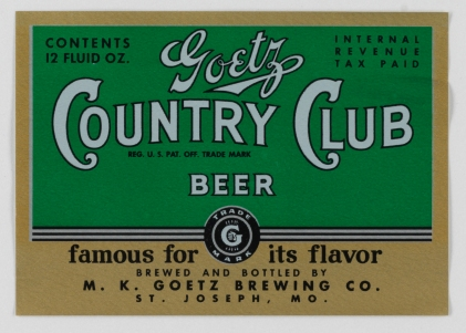 Goetz Country Club Beer Label (VHS call number: Mss1 R3395a)