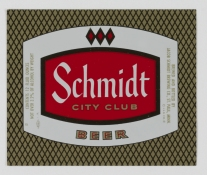 Schmidt City Club Beer label (VHS call number: Mss1 R3395afa2)