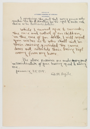 A list of eight promises Leon M. Bazile made to Virginia Hamilton Bowcock before their marriage. (Virginia Historical Society, Mss1 B3483 a FA2)