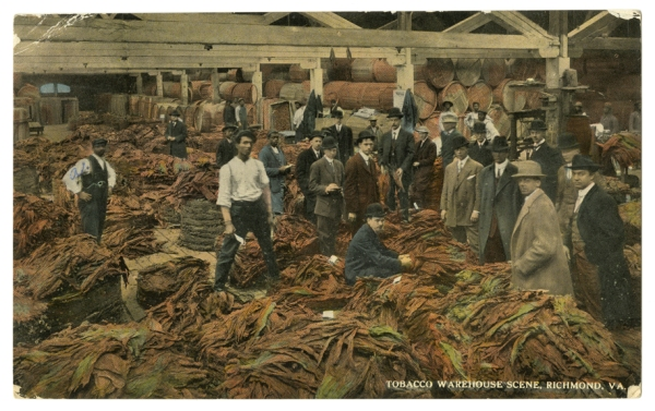 Postcard - Tobacco Warehouse Scene (Virginia Historical Society, 2001.625.8)