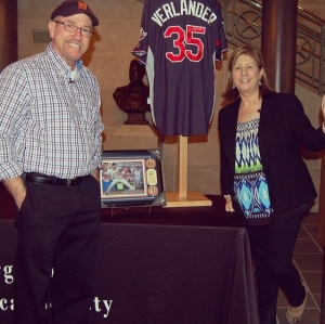 Richard and Kathy Verlander, parents of Justin Verlander,  donating Justin's signed jersey to the VHS on Saturday, February, 8, 2014.