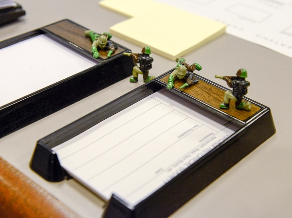 Toy Army men decorate the main desk in the VHS reading room