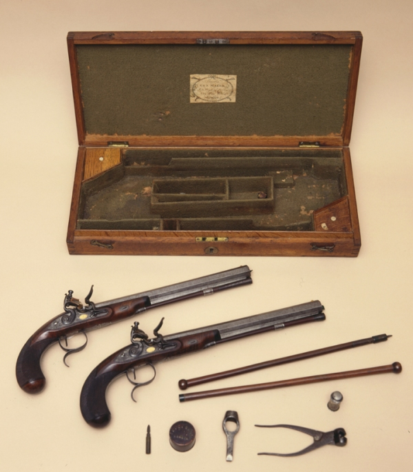 Matched pair of dueling pistols, originally owned by John Randolph (1773-1833). Purchased in London and given to Randolph by Joseph Bryan (1773-1812), this set of pistols was manufactured by Wogdon and Barton. According to a brief article in the Virginia Historical Society Occasional Bulletin (Number 5 [October 1962], p. 8-11), Randolph carried these pistols to his duel with Henry Clay, but other weapons were used. VHS Museum Collection, Accession Number 1961.35.A-K.