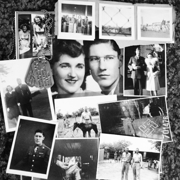 Collage of family photos from WWII, including images of Lizzie's grandparents: Audrey and Ben Eppes and Katie and Bucky Harris.