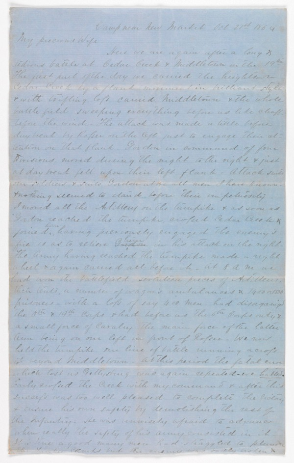 Letter, October 21, 1864, written by Thomas Henry Carter to his wife, Susan Roy Carter.