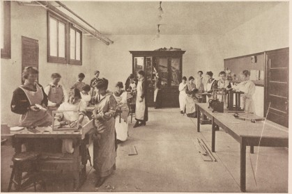 "Radford students in a woodworking class (""Book of Views,"" Radford, 1916, LB 1972 .R3 B7)"