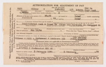 A pay receipt from the Army, February 1944 (Virginia Historical Society, Accession number: 2014.79.16)