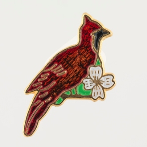 Lapel pin with cardinal and dogwood, Virginia's state bird and tree/flower (Virginia Historical Society, accession number 2014.79.7)