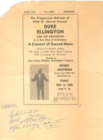 Broadside of Duke Ellington (VHS call number: Broadside 1968:7)