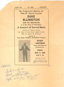 Broadside of Duke Ellington (VHS call number: Broadside 1968:7)