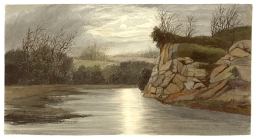 "Watercolor, ""James River, Richmond, VA,"" by Lefevre J. Cranstone, around 1860. This watercolor painting shows the James River at night. (VHS accession number: 1991.18.2)"