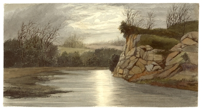"""Watercolor, """"James River, Richmond, VA,"""" by Lefevre J. Cranstone, around 1860. This watercolor painting shows the James River at night. (VHS accession number: 1991.18.2)"""