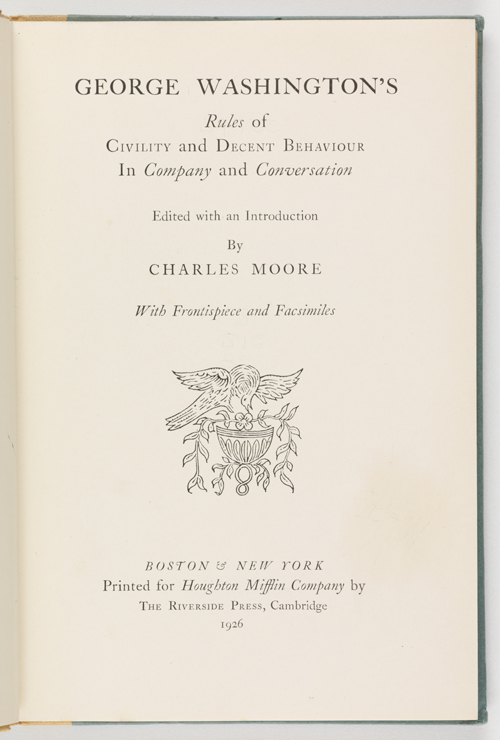 Title page of George Washington's Rules of Civility (Virginia Historical Society, Call number: E312.78 1926)