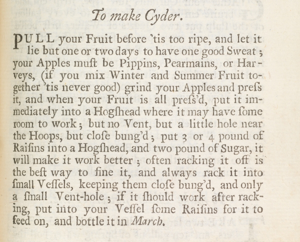 To make Cyder from the Compleat Housewife (VHS Call Number:  Rare Book TX705 S59 1732)