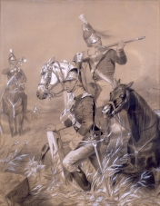 """Charcoal and gouache drawing, """"'Light Horse' Harry Lee's Legion at the Battle of Guilford Court House,"""" by Alonzo Chappel, 19th century. This drawing depicts """"Light Horse"""" Harry Lee's legion skirmishing at the Battle of Guilford Court House. (VHS accession number: 1992.147)"""
