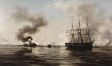"""""""Battle between the Monitor and the Merrimack,"""" Xanthus Smith, about 1880. (Lora Robins Collection of Virginia Art, VHS accession number: 1998.53_2)"""