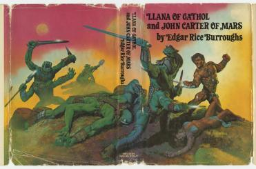 """""""Llana of Gathol and John Carter of Mars (1977)"""" First published as short stories in 1941, this novel featured Lllana, the granddaughter of John Carter and Dejah Thoris. Carter was captured by the inhabitants of Horz and sent to the slave pits under their city where he discovered a lost race frozen in suspended animation. Carter freed this race of the living dead and rescued his beautiful granddaughter. Llana of Gathol and John Carter of Mars was the 10th in the series and the last one published in Burrough's lifetime. (VHS call number: PS 3503 U687 L79 1977)"""