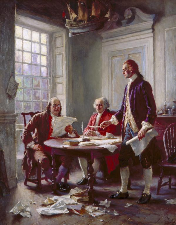 """""""Writing the Declaration of Independence, 1776"""" 