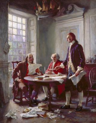 """Writing the Declaration of Independence, 1776,"" by Jean Leon Gerome Ferris. Thomas Jefferson, John Adams, and Benjamin Franklin were named to a committee to prepare a declaration of independence. Jefferson (standing) did the actual writing because he was known as a good writer. Congress deleted Jefferson's most extravagant rhetoric and accusations. (VHS accession number: 1996.49.15)"