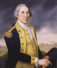 """George Washington,"" Charles Peale Polk, about 1790. This depiction of George Washington (1732–1799) as commander of the Continental army was derived from portraits taken from life by Polk's more famous uncle, Charles Willson Peale. Washington was keenly aware of physical appearance and paid considerable attention to both proper dress and proper demeanor. He said, ""nothing adds more to the appearance of a man than dress."" Washington concerned himself with the buttons, trimmings, and all manner of details of his uniform. He even powdered his hair to enhance the sense of dignity. (VHS accession number: 1905.10)"