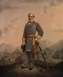 """""""Robert E. Lee."""" When Virginia left the Union in April 1861, Gen. Winfield Scott offered Lee principal command of the U.S. Army, but Lee maintained that he could not bear arms against his native Virginia. He submitted his resignation and became the commander-in-chief of the military and naval forces of Virginia. Lee was given command of the Army of Northern Virginia in June 1862 and from then until the summer of 1863, he led the army in a series of brilliant campaigns. After suffering defeat at the battle of Gettysburg in July 1863, he adopted a largely defensive strategy. In 1864, Lee tried desperately to hold a larger Union army at bay in a series of bloody battles from the Wilderness to Petersburg. The end came when his weakened forces surrendered to Gen. Ulysses S. Grant's army at Appomattox on April 9, 1865. After the war, he devoted the rest of his life to serving as president of Washington College in Lexington, Virginia. He died in October 1870. (VHS accession number: 1957.29)"""