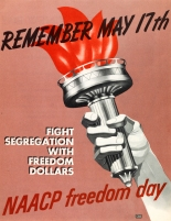 "Brochure. The cover of this 1955 NAACP Freedom Day brochure, ""Remember May 17th, Fight Segregation with Freedom Dollars,"" depicts the hand of the Statue of Liberty holding a torch. The brochure was printed to promote membership in NAACP in observance of the first anniversary of the May 17, 1954, Supreme Court decision which held public school segregation unconstitutional. The back cover of the brochure features a photo of the U.S. Supreme Court. (VHS accession number: 2003.234.5)"