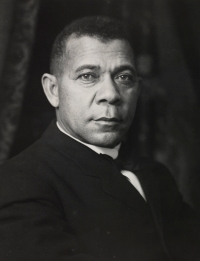Booker T. Washington. Photograph by the Scurlock Studio, Washington, D.C.. Booker T. Washington (1856–1915) was born enslaved in Franklin County, Virginia. After emancipation, he lived for a time in West Virginia before attending Hampton Institute from 1872 to 1875. (VHS accession number: 2006.200)