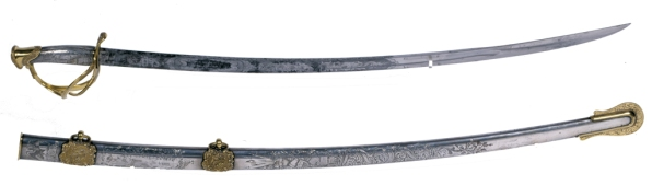 Sword and scabbard, Ames Manufacturing Company, 1848. (Gift of Judith E. and Fanny C. Thomas; VHS accession number: 1900.1.A-C)