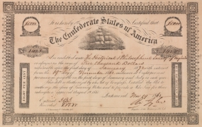 Confederate States bond owned by the Virginia Historical Society. (VHS call number: Folio H6a 1862)
