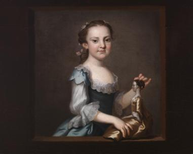 """""""Elizabeth Randolph,"""" about 1755, by John Wollaston. At the time she sat for John Wollaston, Elizabeth Randolph (born c. 1750–died before 1773) was just beginning to learn genteel behavior, for she was probably not much more than five or six years of age. Nonetheless, she already could dress in the manner of and assume the bearing of a lady. Elizabeth Randolph would marry Philip Ludwell Grymes. Like her older sister Anne, she tragically died in her early twenties. (Gift of Kate Brander Mayo Skipwith Williams; VHS accession number: 1947.71)"""