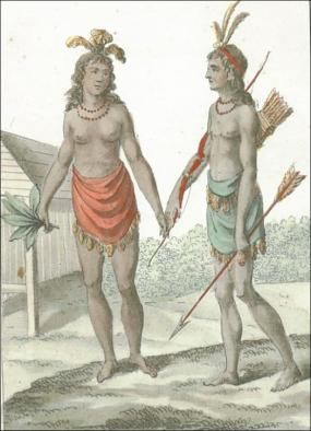 """Hand-colored mezzotint engraving, """"Homme et Femme de Virginie,"""" by T. G. St. Sauveur, 1806. Several details in the image appear Virginian in origin, such as the bow and arrow, the bead necklaces, and the loincloths (though they have tassels instead of a fringe). The headdresses might be vaguely based on Virginia imagery, but the milled-lumber house is unmistakably European."""