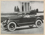 """Image from a Kline Kar, """"The Ace of the Highway"""" brochure, accompanying the advertisement for """"The Roadster."""" Notice that the two women driving are in front of Battle Abbey, now the VHS. (Virginia Historical Society, Mss1 K6853 a, Section 4, Folder 62)"""