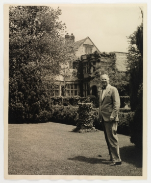Then: Alexander Weddell on the bowling green near the sundial (Virginia Historical Society, 1948.W.3074)