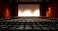 Our new 19:6 wide screen is used primarily for movies whereas the existing 4:3 screen is used for presentations.