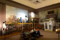 Staff from Richmond Conservation Studio working on the Cavalry (Autumn) mural in 2013.