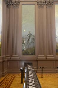 Moonlight shimmers on Col. John Singleton Mosby in the Partisan Ranger mural.